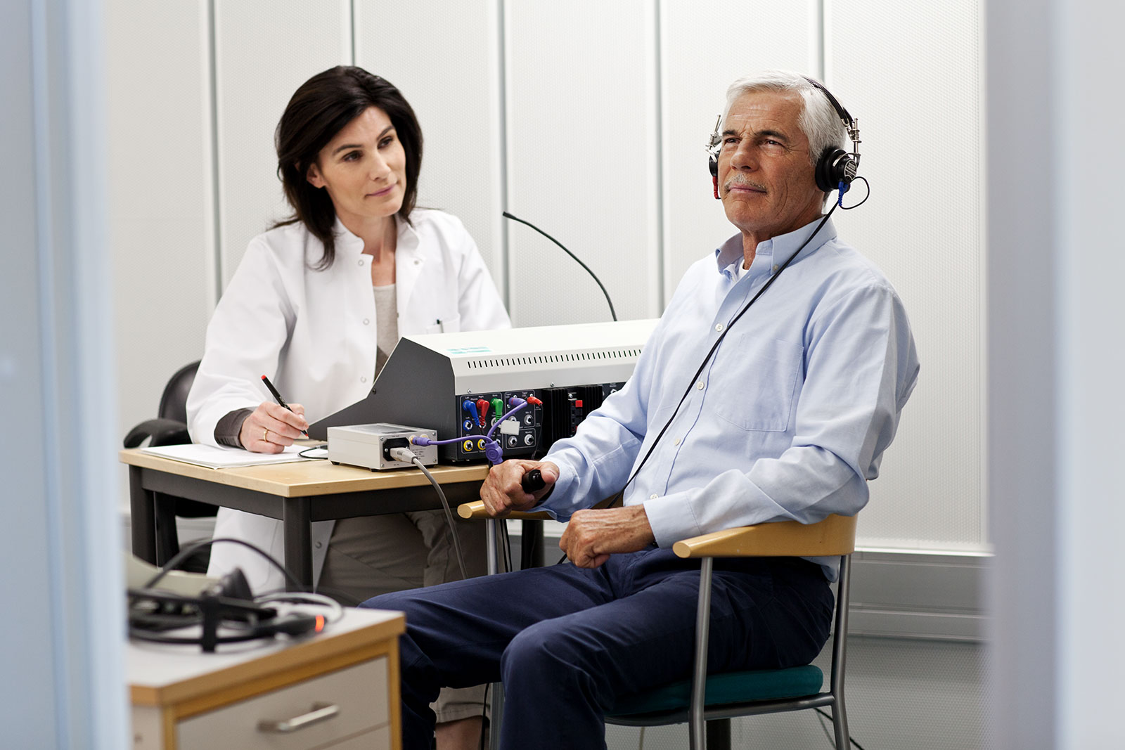 Man having hearing test