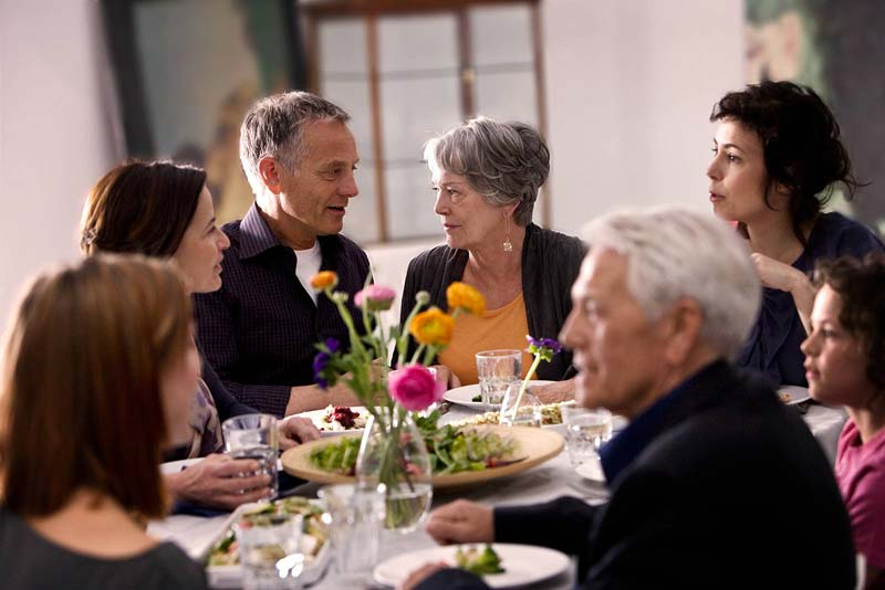 dinner party wearing hearing aids